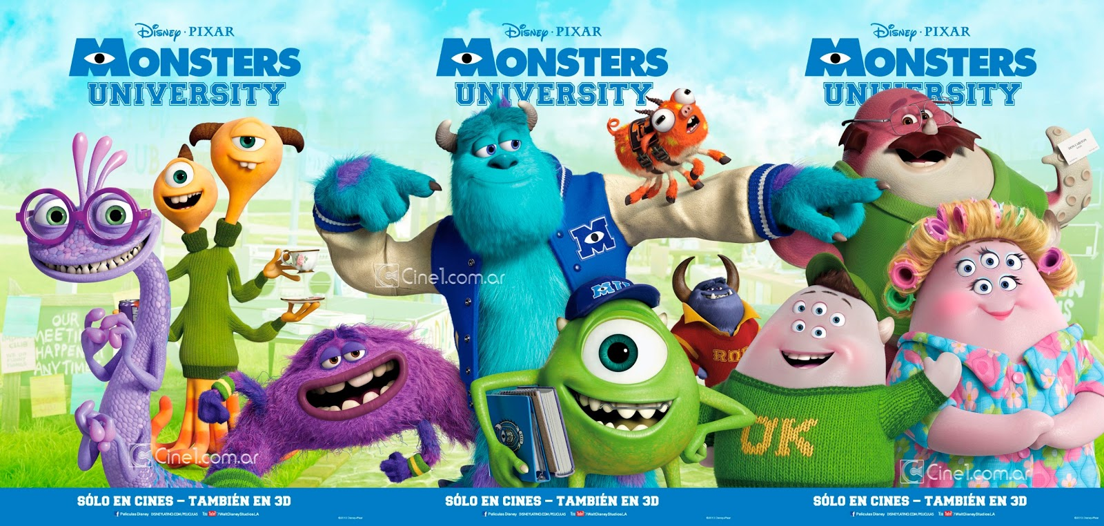 New foreign promotion for pixars monsters university animation monstersuniversitypostercine1 triptico voltagebd Gallery