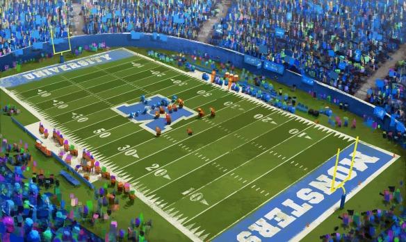 Monsters University football stadium concept sketch, Robert Kondo, digital 2012. Courtesy of Pixar Animation Studios © 2013 Disney•Pixar.