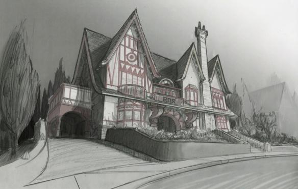 Monsters University ROR House concept sketch, Nelson Bohol, pencil, 2011 Courtesy of Pixar Animation Studios © 2013 Disney•Pixar.