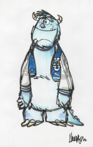 Monsters University college age Sully concept  sketch,  Ricky Nierva, marker, 2009 Courtesy of Pixar Animation Studios © 2013 Disney•Pixar.
