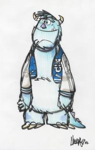 Monsters University college age Sully concept  sketch,  Ricky Nierva, marker, 2009 Courtesy of Pixar Animation Studios © 2013 Disney•Pixar.