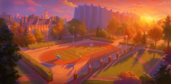Monsters University Athletic Track, Shelly Wan, digital, 2010. Courtesy of Pixar Animation Studios © 2013 Disney•Pixar.