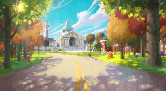 Monsters University Scare School color exploration, Dice Tsutsumi, digital 2010. Courtesy of Pixar Animation Studios © 2013 Disney•Pixar.