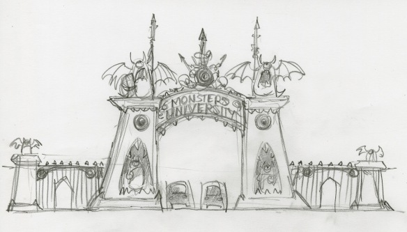Monsters University gate concept sketch, John Nevarez, pencil, 2011. Courtesy of Pixar Animation Studios © 2013 Disney•Pixar.