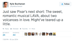 Kyle Buchanan PIXAR LAVA tweet