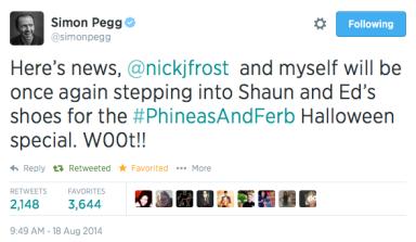 Simon Pegg Phineas Shaun Tweet