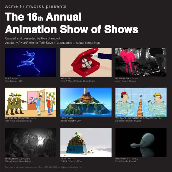 Flyer for 16th annual 'Animation Show of Shows'