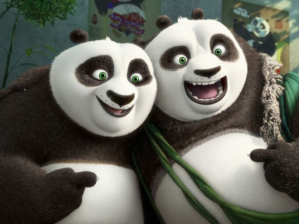 Po (voiced by Jack Black) and Li (voiced by Brian Cranston) are reunited in 'Kung Fu Panda 3' © DreamWorks Animation