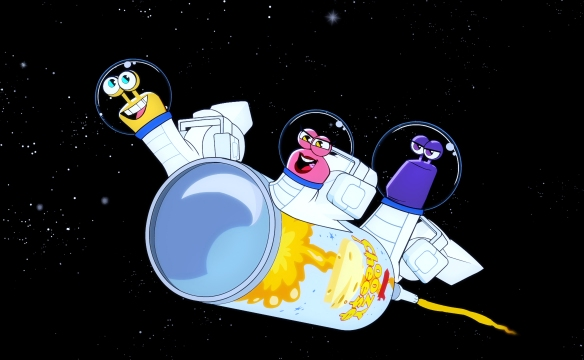 The snails go to outer space, one of the many off-track comedic adventures in season 2 of 'Turbo FAST' (© DreamWorks Animation)
